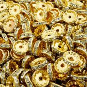 Entremeio Rondelle de Metal - Dourado com Cristal - 12mm - 100pçs