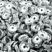 Entremeio Rondelle de Metal com Strass - 12mm - 100pçs