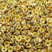 Entremeio Rondelle de Metal - Dourado com Cristal - 6mm - 100pçs