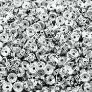 Entremeio Rondelle de Metal - Níquel com Cristal - 6mm - 100pçs