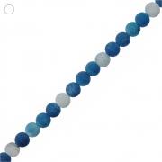 Fio de Bolinhas de Ágata Azul Fosca - 8mm - 40cm