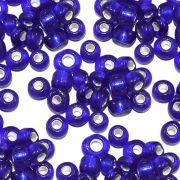 Miçanga 6/0 - Azul Royal com Prata - 500g