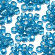 Miçanga 6/0 - Azul Turquesa com Prata - 500g