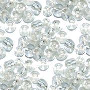 Miçanga 6/0 - Transparente com Prata - 500g