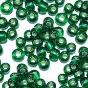 Miçanga 6/0 - Verde Bandeira com Prata - 500g