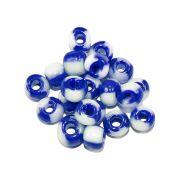 Miçanga 6/0 - Azul Royal com Branco - 50g