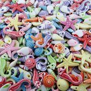 Pingente Miçanga Infantil de Plástico - Variado Fundo do Mar - 250g