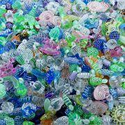 Pingente Miçanga Infantil de Plástico - Variado Translúcido - 250g