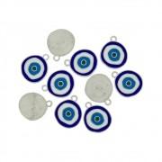 Pingente Olho Grego de Metal - Níquel - 23mm - 10pçs