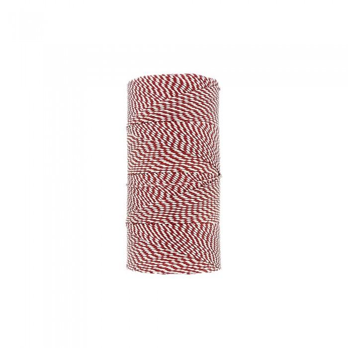 Rolo de Linha Encerada - Vermelho com Branco - 100g  - Nathalia Bijoux®