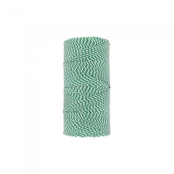 Rolo de Linha Encerada - Verde com Branco - 100g  - Nathalia Bijoux®