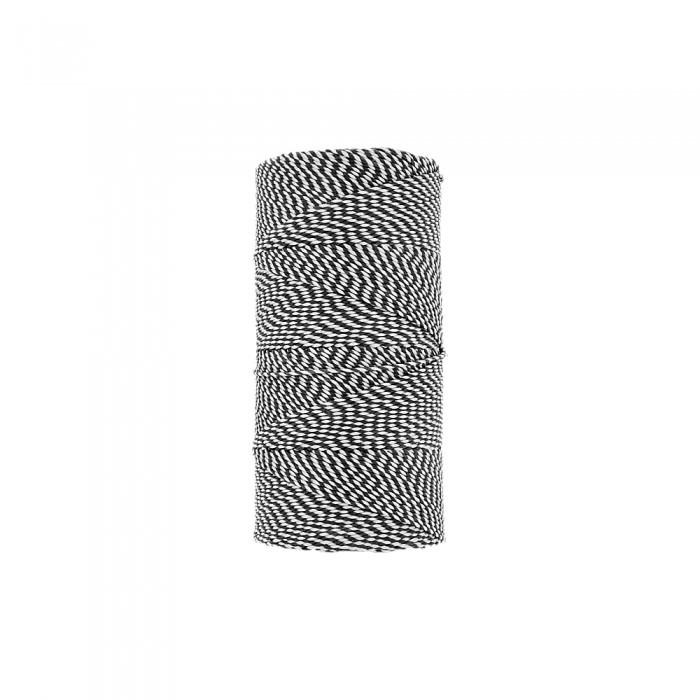 Rolo de Linha Encerada - Branco com Preto - 100g  - Nathalia Bijoux®