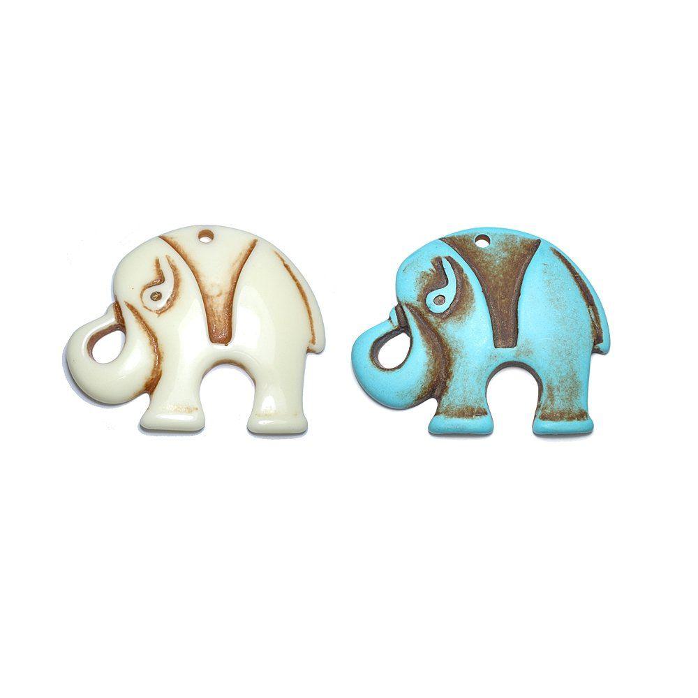 Pingente Elefante de Resina - 66mm  - Nathalia Bijoux®