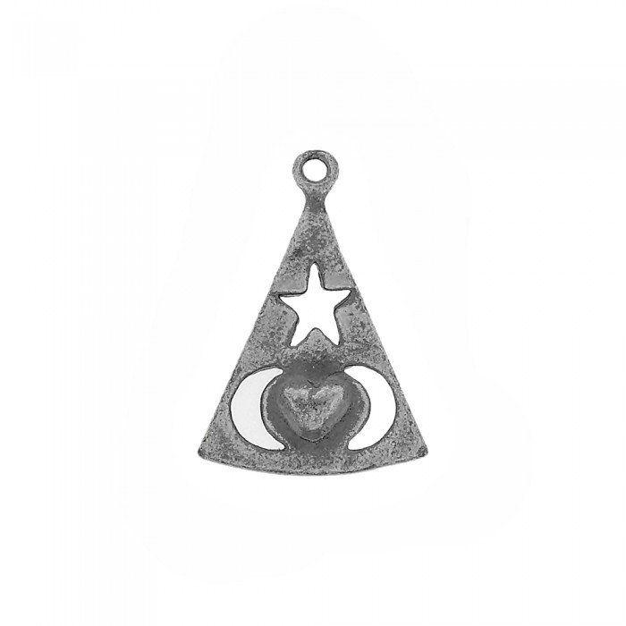 Pingente com Coração, Estrela e Lua de Metal - 29mm  - Nathalia Bijoux®