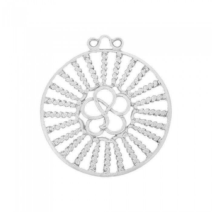 Pingente com Flor de Metal - 60mm  - Nathalia Bijoux®
