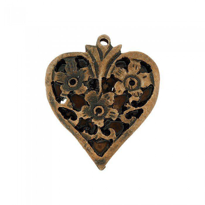 Pingente Coração com Flores de Resina - 37mm  - Nathalia Bijoux®