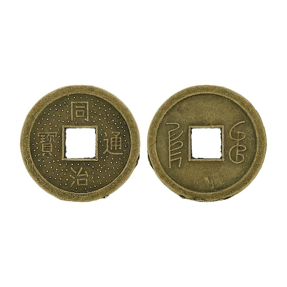 Pingente Moeda Oriental de Metal - 24mm  - Nathalia Bijoux®