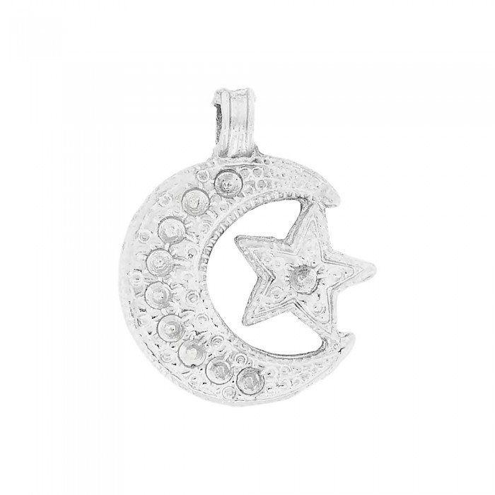 Pingente Lua com Estrela de Metal - 32mm  - Nathalia Bijoux®