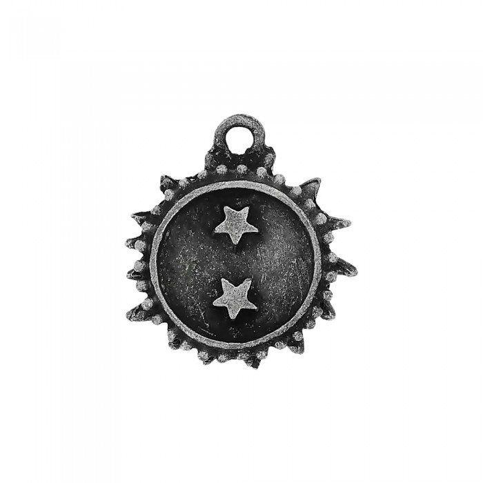 Pingente Sol com Estrelas de Metal - 27mm  - Nathalia Bijoux®