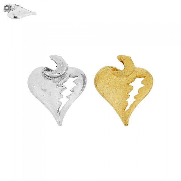 Pingente Coração com Lua e Raio de Metal - 20mm  - Nathalia Bijoux®