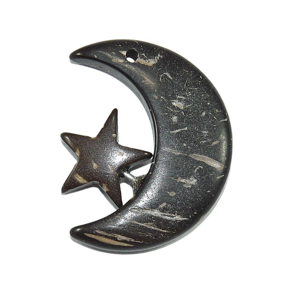 Pingente Lua e Estrela de Coco - 28mm  - Nathalia Bijoux®