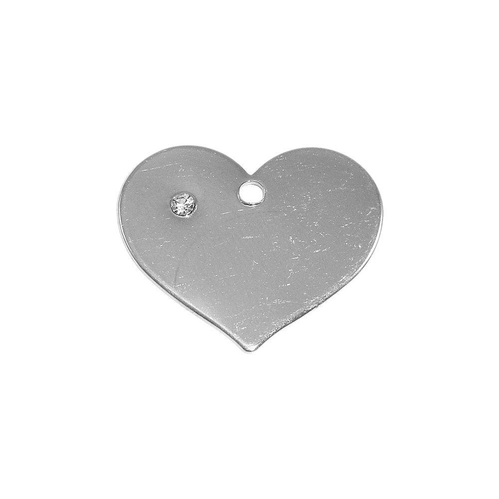 Pingente Coração de Metal com Strass - 23mm  - Nathalia Bijoux®