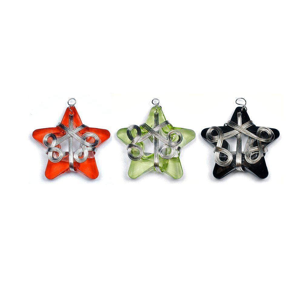 Pingente Estrela de Acrílico - 37mm  - Nathalia Bijoux®