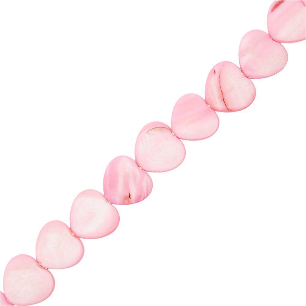 Fio de Corações de Madrepérola Tingida - Rosa - 15mm - 38cm  - Nathalia Bijoux®