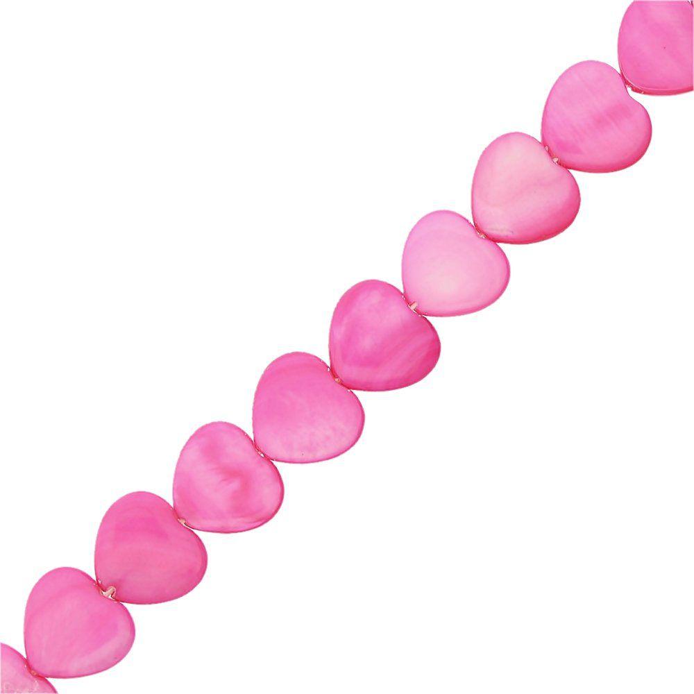 Fio de Corações de Madrepérola Tingida - Pink - 16mm - 38cm  - Nathalia Bijoux®