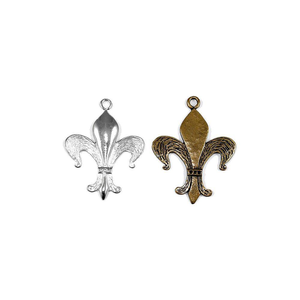 Pingente Flor de Lis de Metal - 58mm e 61mm  - Nathalia Bijoux®