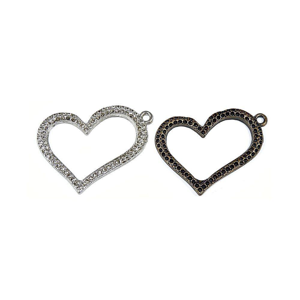 Pingente Coração de Metal - 55mm  - Nathalia Bijoux®