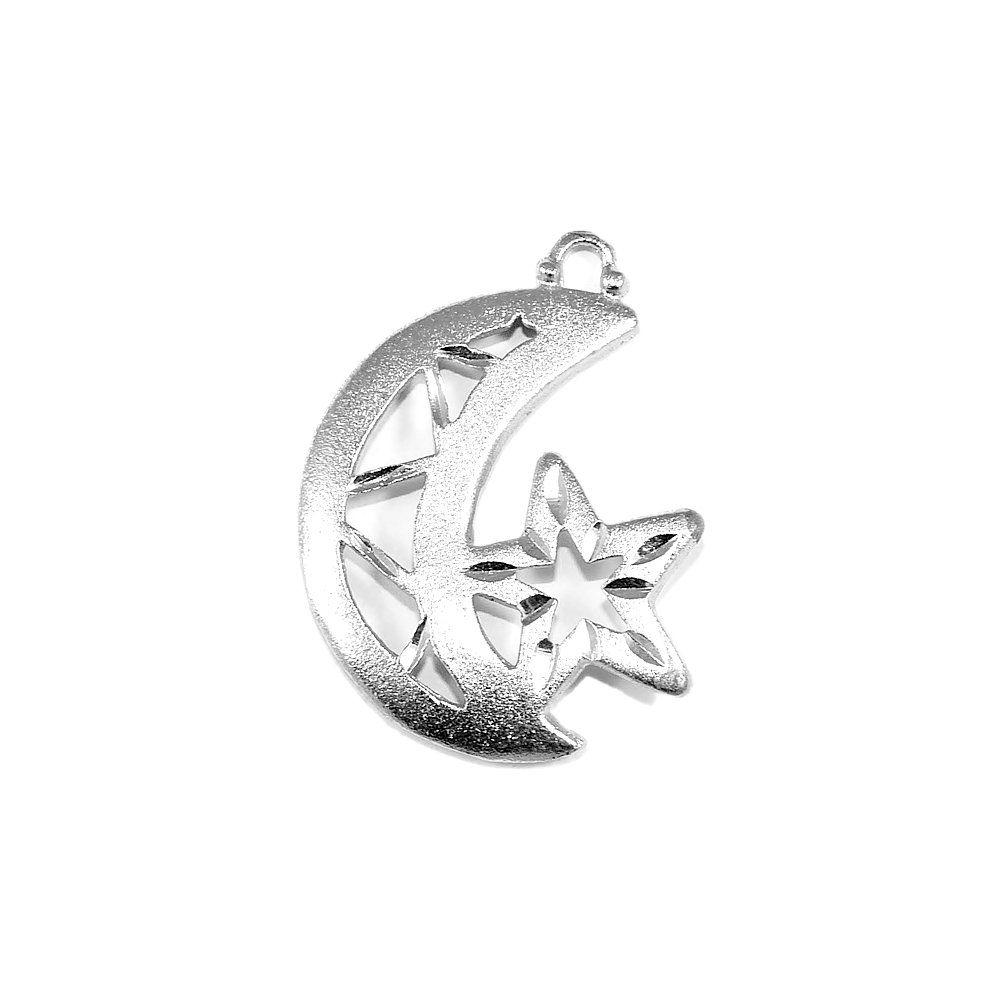 Pingente Lua com Estrela de Metal - 38mm  - Nathalia Bijoux®