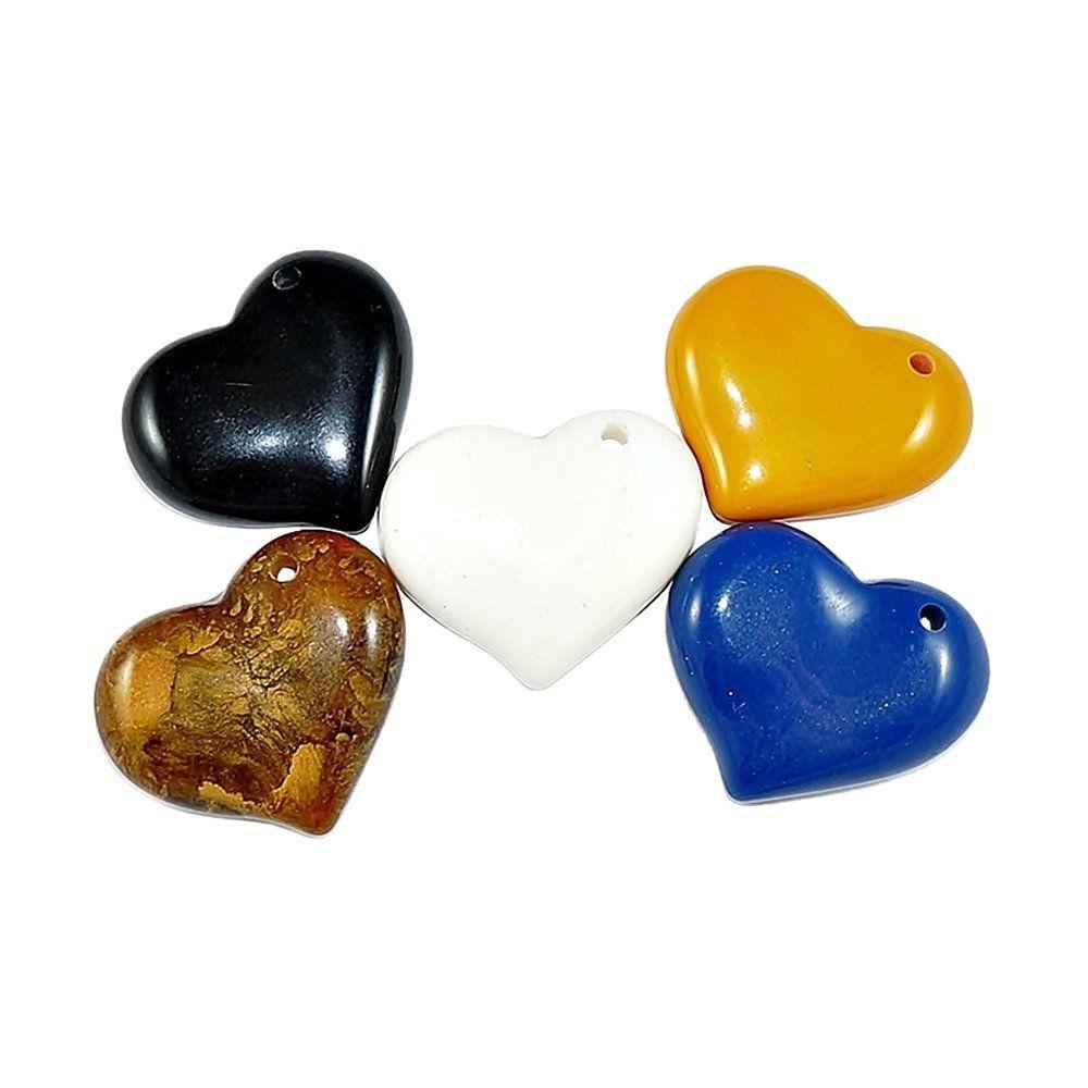 Pingente Coração de Resina - 47mm - 5pçs  - Nathalia Bijoux®