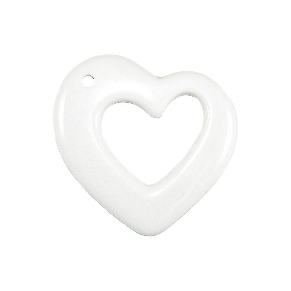 Pingente Coração de Resina - 82mm - 5pçs  - Nathalia Bijoux®