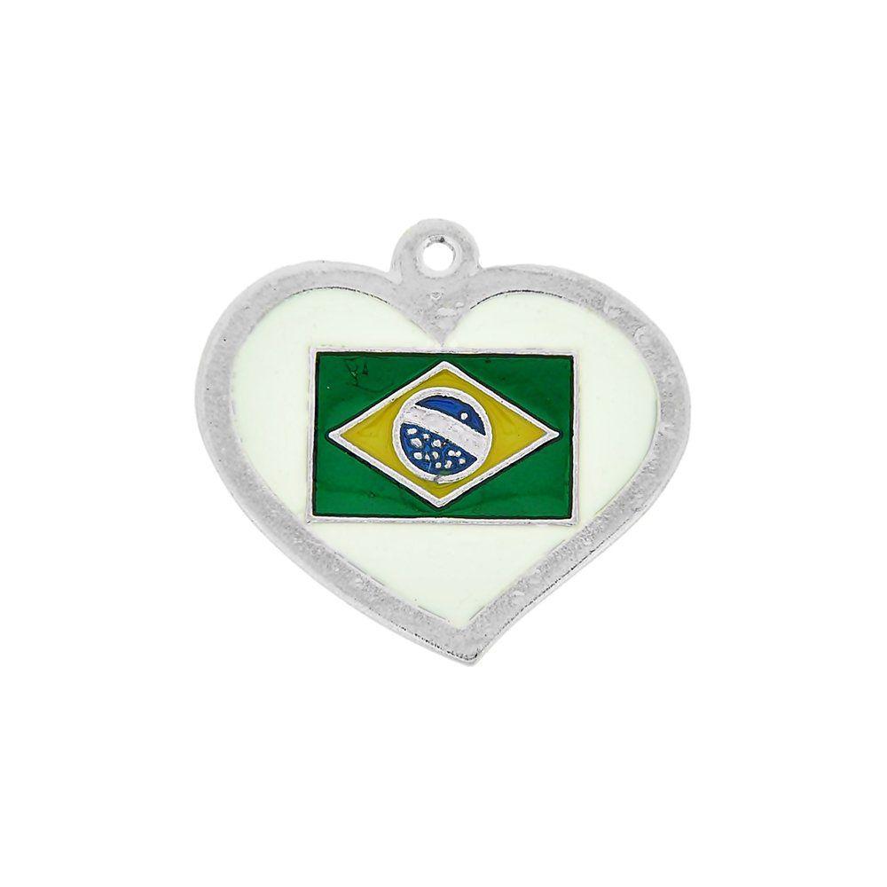 Pingente Coração com Bandeira do Brasil de Metal - 34mm  - Nathalia Bijoux®