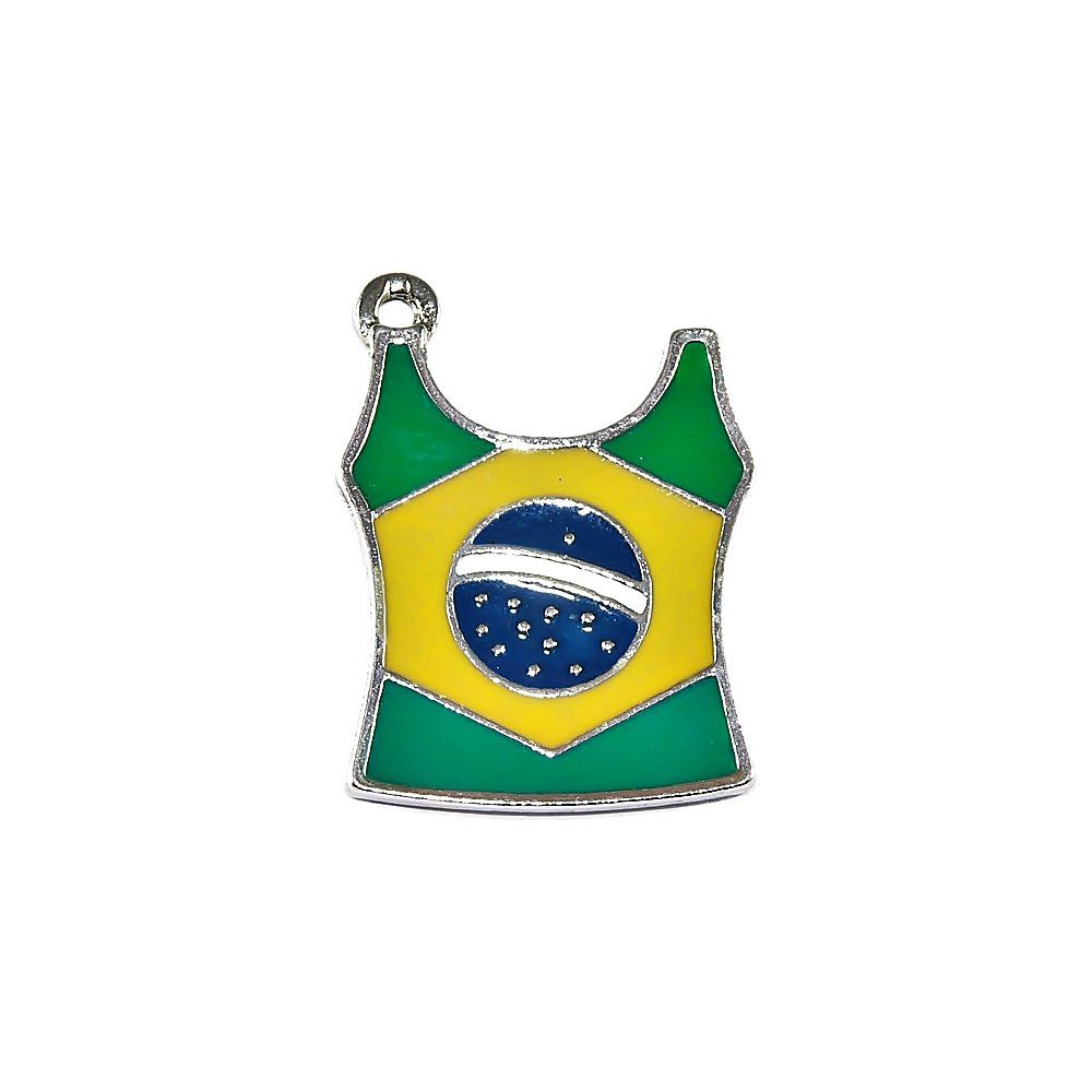Pingente Camiseta do Brasil de Metal - 37mm  - Nathalia Bijoux®