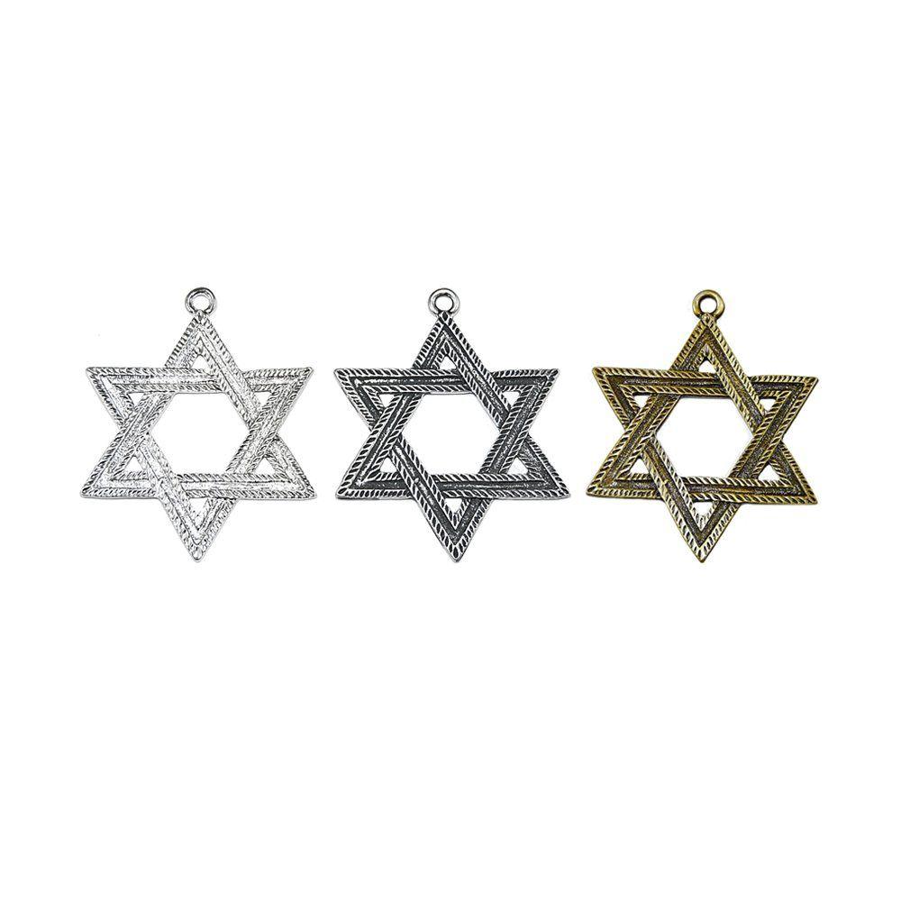 Pingente Estrela de Davi de Metal - 69mm  - Nathalia Bijoux®