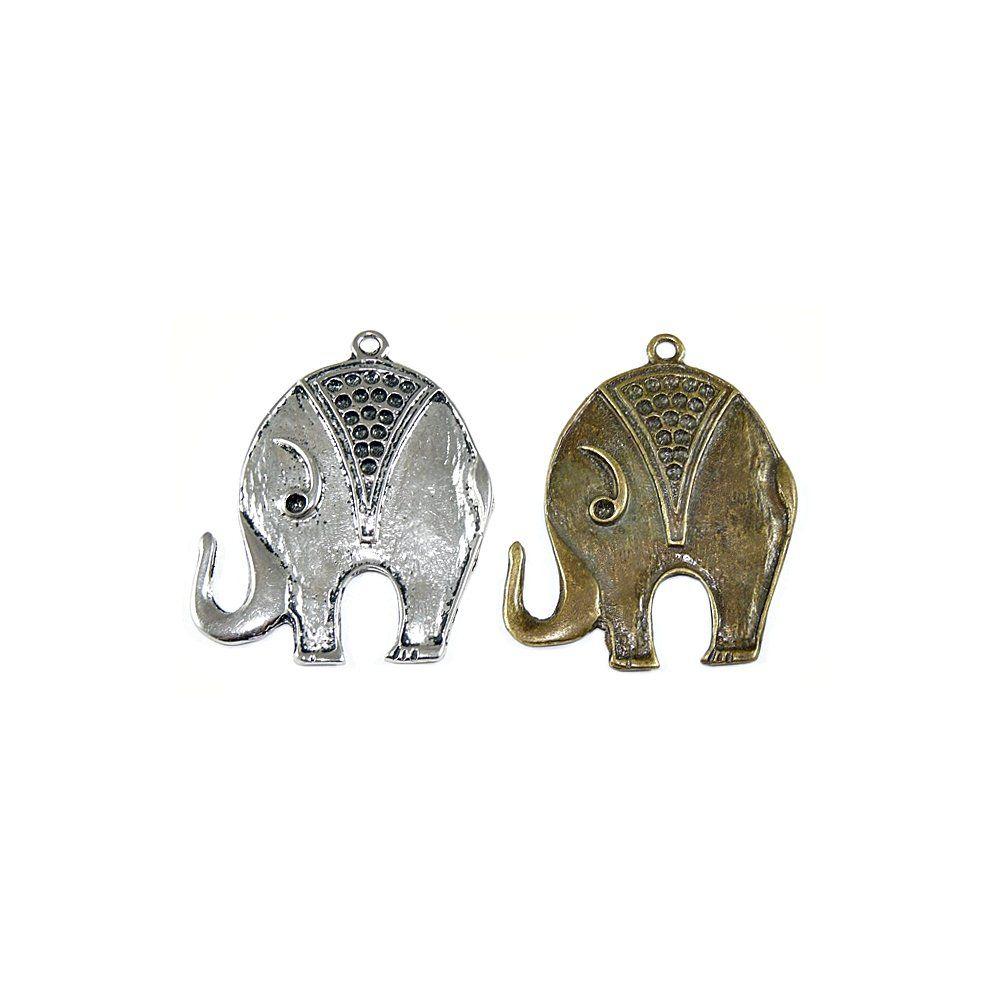 Pingente Elefante de Metal - 52mm  - Nathalia Bijoux®