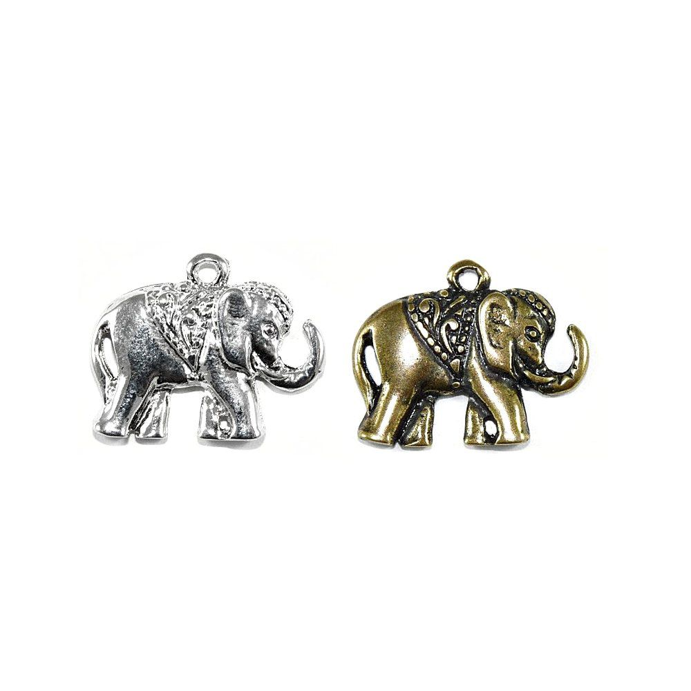 Pingente Elefante de Metal - 19mm  - Nathalia Bijoux®