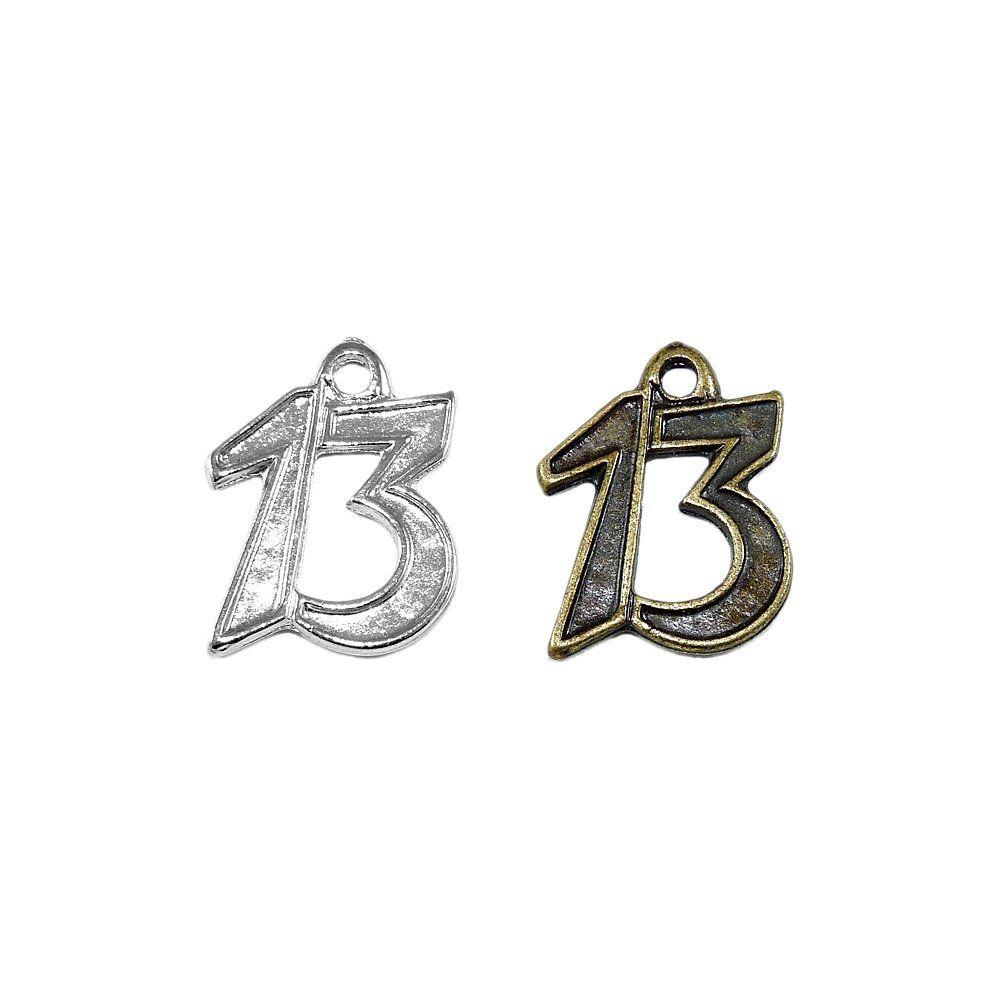 Pingente Número 13 de Metal - 27mm  - Nathalia Bijoux®