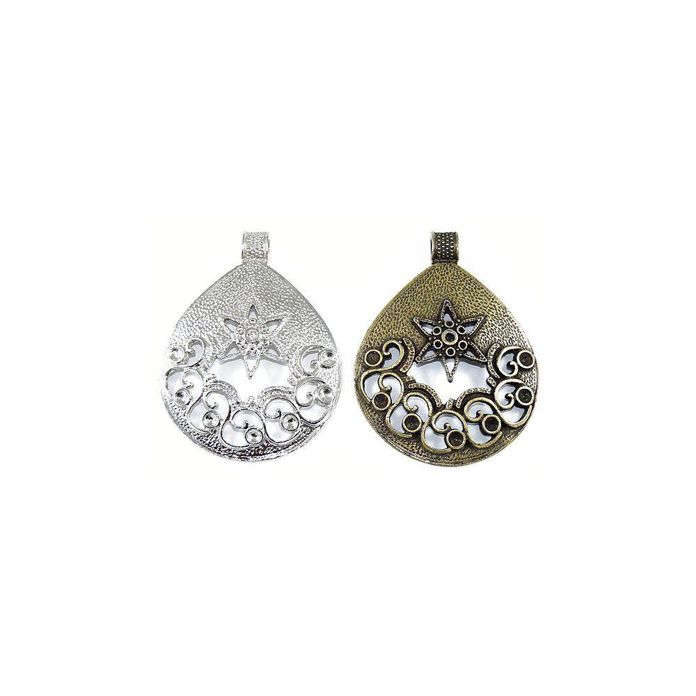 Pingente Gota com Flor de Metal - 72mm  - Nathalia Bijoux®