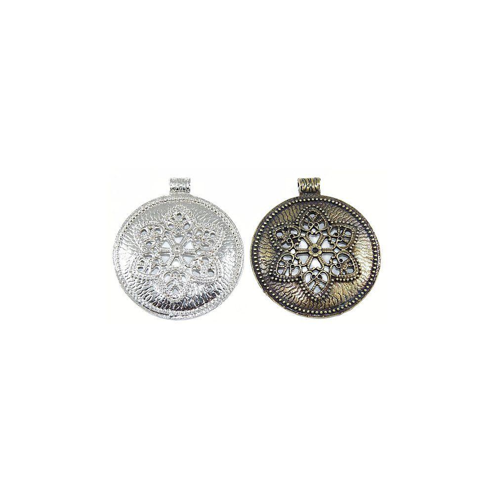Pingente com Flor de Metal - 68mm  - Nathalia Bijoux®