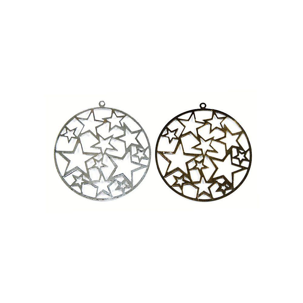 Pingente com Estrelas de Metal - 59mm  - Nathalia Bijoux®