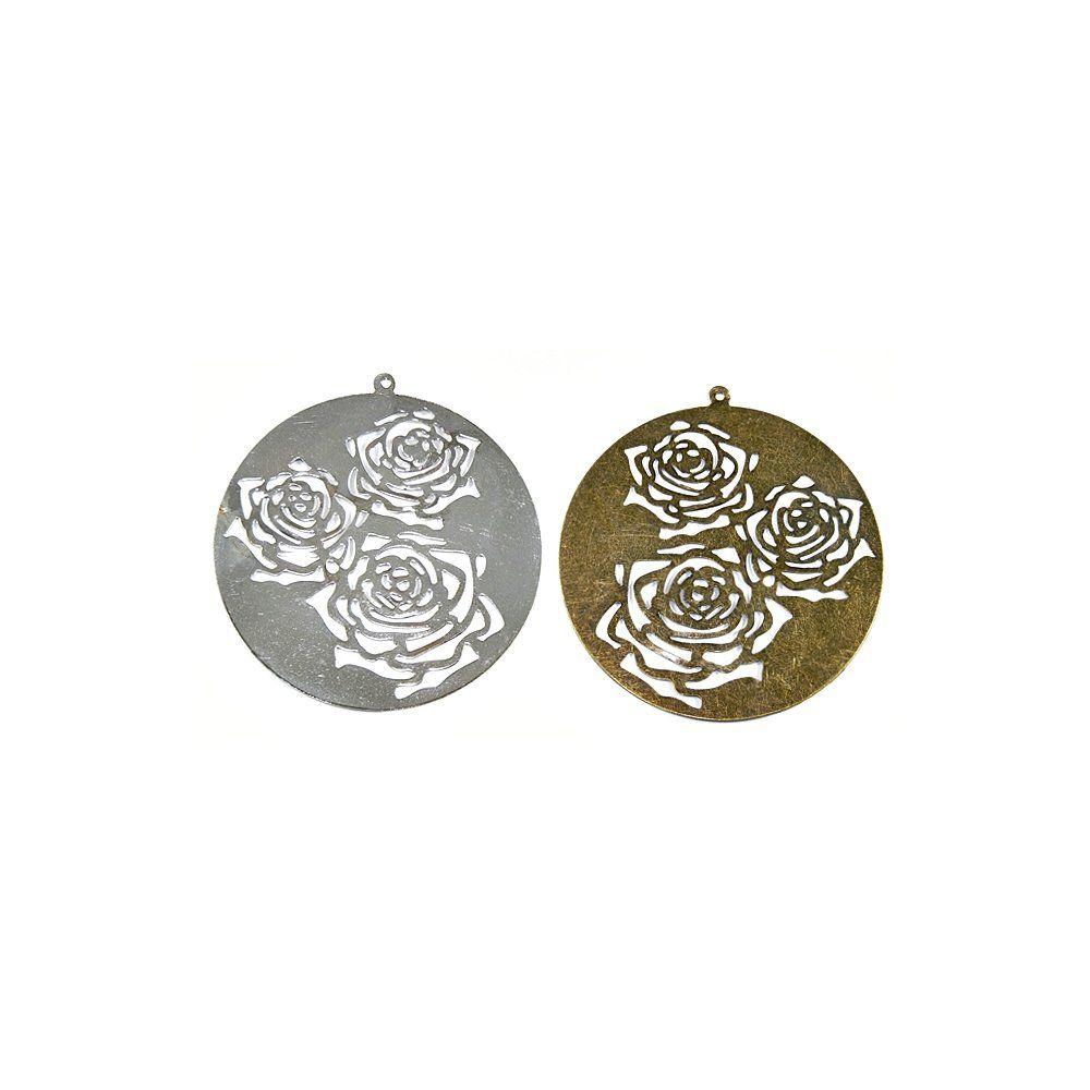 Pingente com Flor de Metal - 61mm  - Nathalia Bijoux®