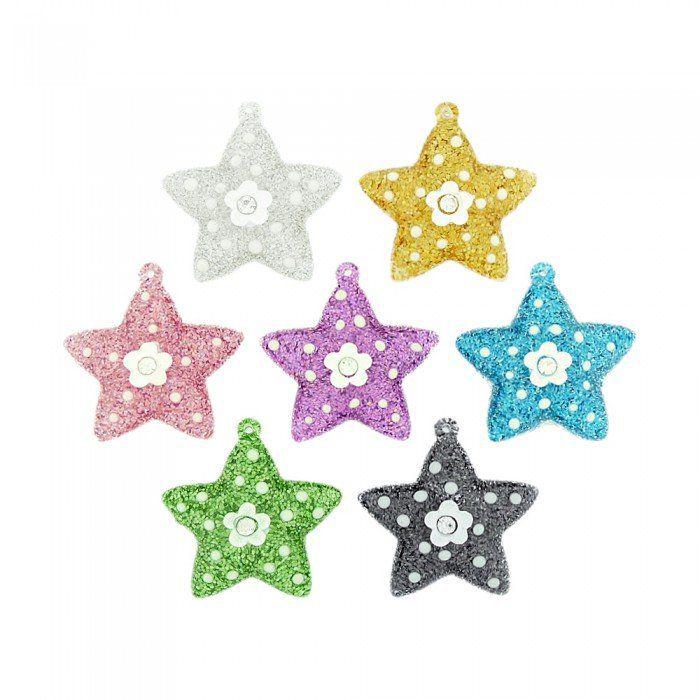 Pingente Estrela com Flor de Acrílico com Glitter e Strass - 36mm  - Nathalia Bijoux®
