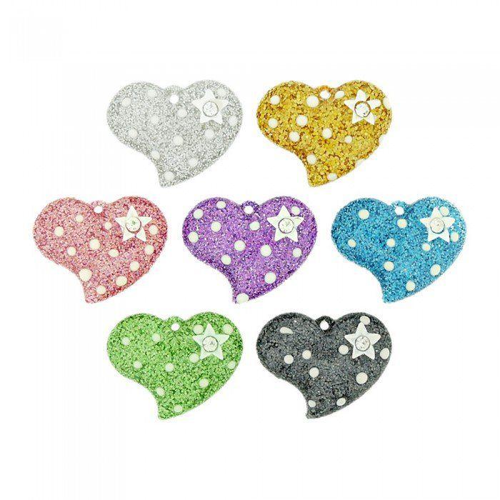 Pingente Coração com Estrela de Acrílico com Glitter e Strass - 26mm  - Nathalia Bijoux®