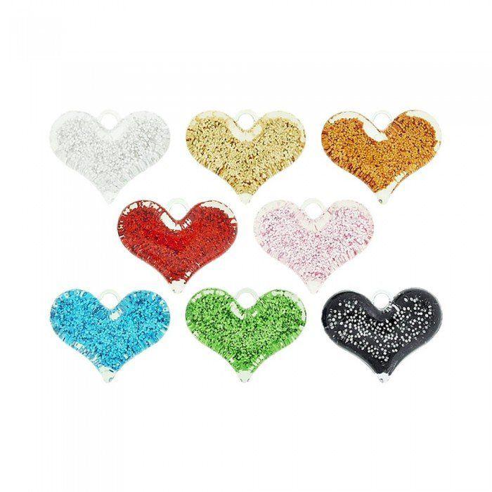 Pingente Coração de Acrílico com Glitter - 22mm  - Nathalia Bijoux®
