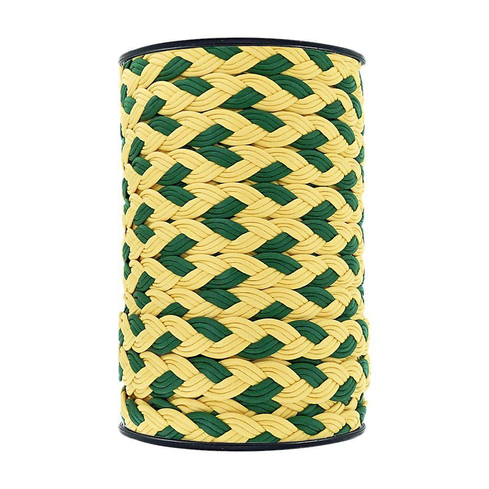 Cordão Encerado Trançado - Amarelo com Verde - 15mm - 50m  - Nathalia Bijoux®