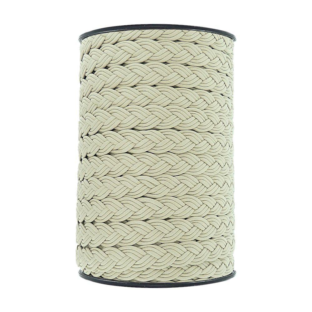 Cordão Encerado Trançado - Areia - 15mm - 50m  - Nathalia Bijoux®
