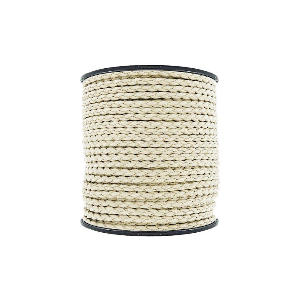 Cordão Encerado Trançado - Cru - 4mm - 50m  - Nathalia Bijoux®